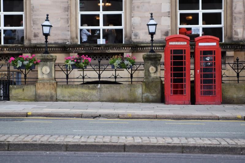 Liverpool rote Telefonzellen